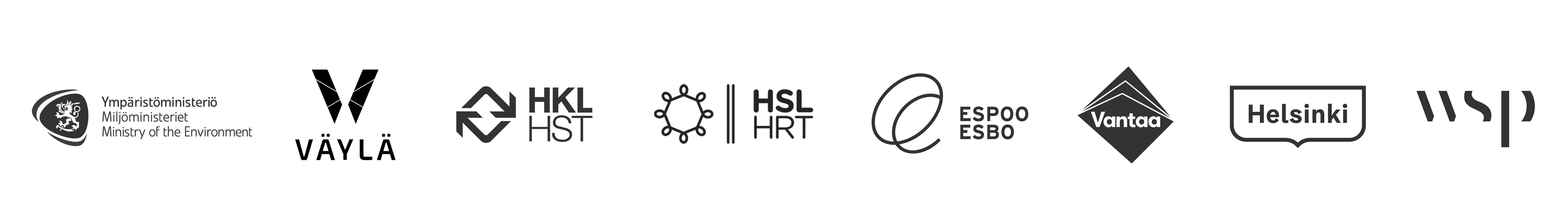 Yhteistyössä Ympäristöministeriö, Väylävirasto, HKL, HSL, Espoon kaupunki, Vantaan kaupunki, Helsingin kaupunki, WSP